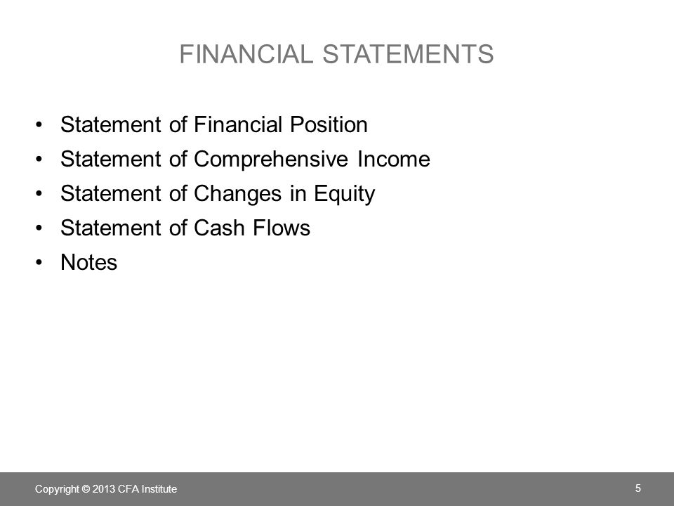 FINANCIAL STATEMENTS Statement of Financial Position Statement of Comprehensive Income Statement of Changes in Equity Statement of Cash Flows Notes Co