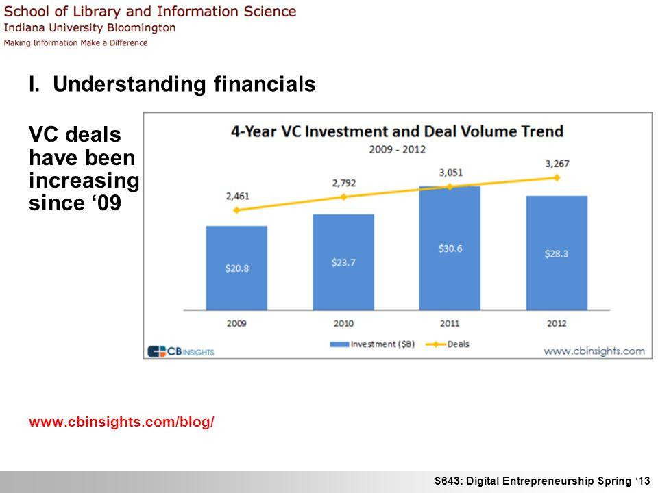 S643: Digital Entrepreneurship Spring '13 I. Understanding financials VC deals have been increasing since '09 www.cbinsights.com/blog/