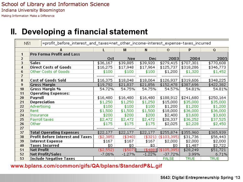 S643: Digital Entrepreneurship Spring '13 II. Developing a financial statement www.bplans.com/common/gifs/QA/bplans/StandardP&L.gif