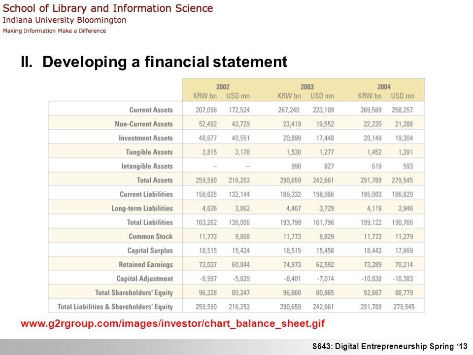 S643: Digital Entrepreneurship Spring '13 II. Developing a financial statement www.g2rgroup.com/images/investor/chart_balance_sheet.gif