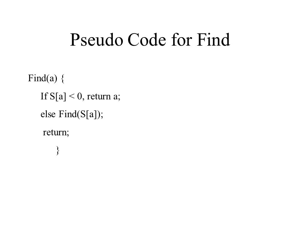 Pseudo Code for Find Find(a) { If S[a] < 0, return a; else Find(S[a]); return; }