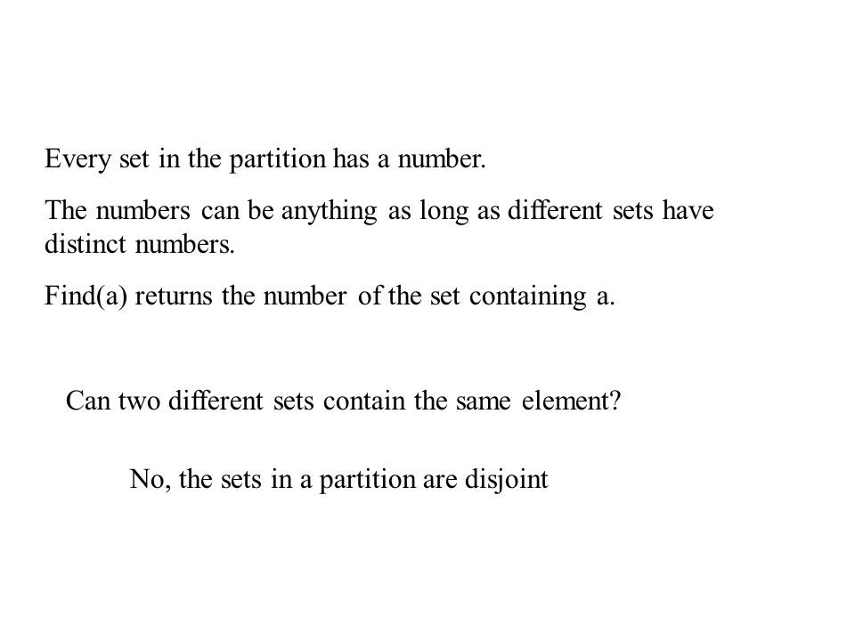 Disjoint Set Data Structure The set is represented by the root of the tree.