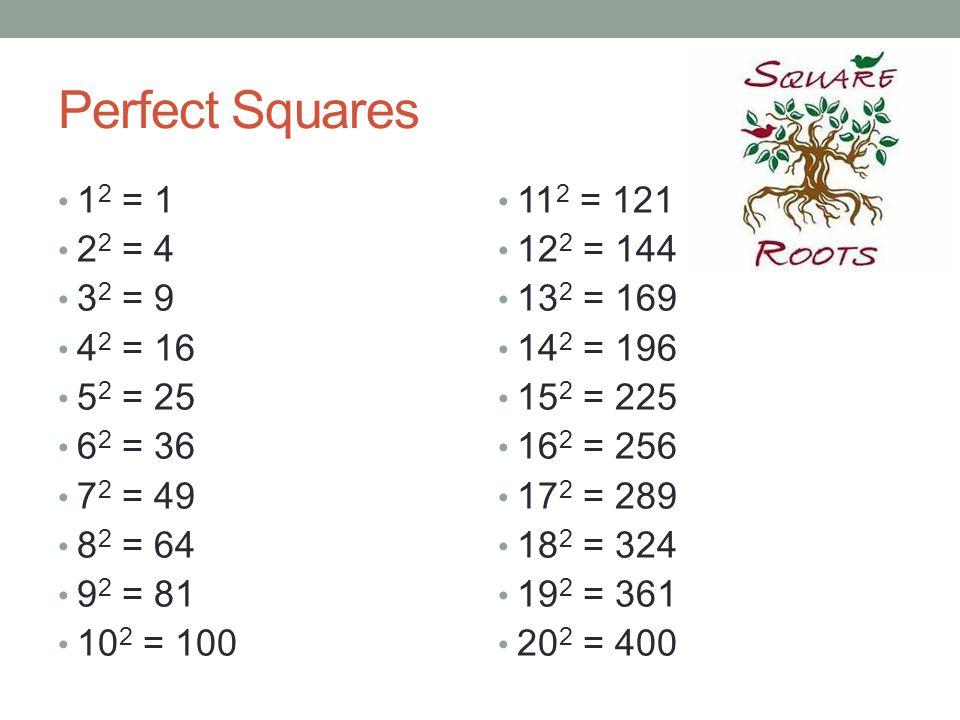Perfect Squares 1 2 = 1 2 2 = 4 3 2 = 9 4 2 = 16 5 2 = 25 6 2 = 36 7 2 = 49 8 2 = 64 9 2 = 81 10 2 = 100 11 2 = 121 12 2 = 144 13 2 = 169 14 2 = 196 1