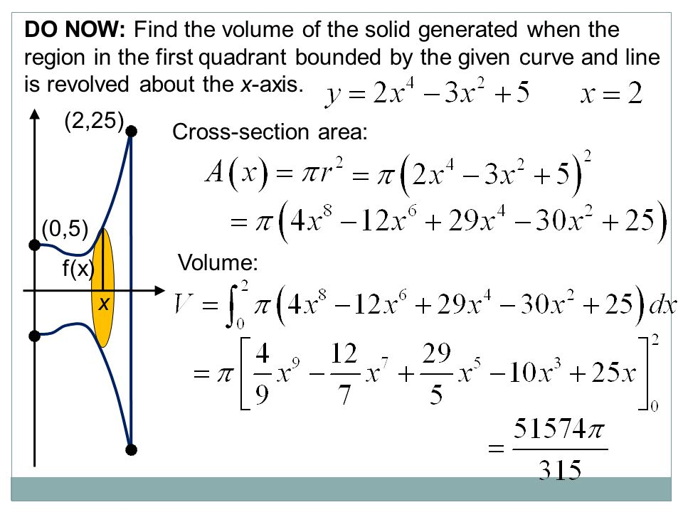 DO NOW: Find the volume of the solid generated when the region in the first quadrant bounded by the given curve and line is revolved about the x-axis.