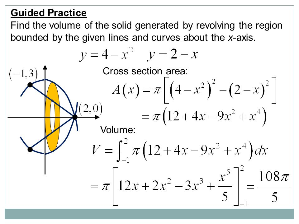 Guided Practice Find the volume of the solid generated by revolving the region bounded by the given lines and curves about the x-axis.