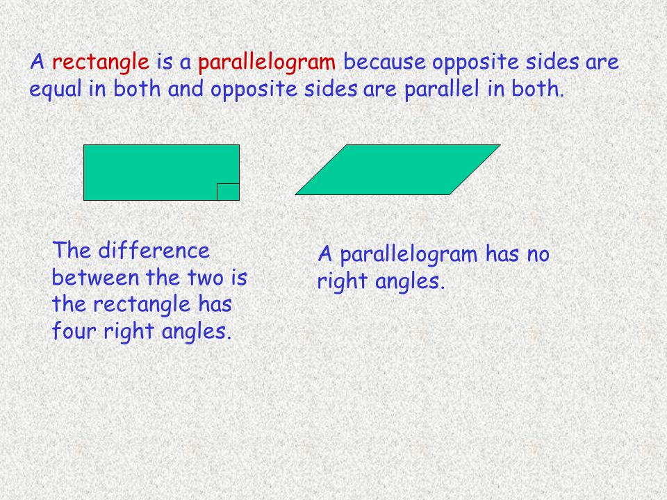 A rectangle is a parallelogram because opposite sides are equal in both and opposite sides are parallel in both. The difference between the two is the
