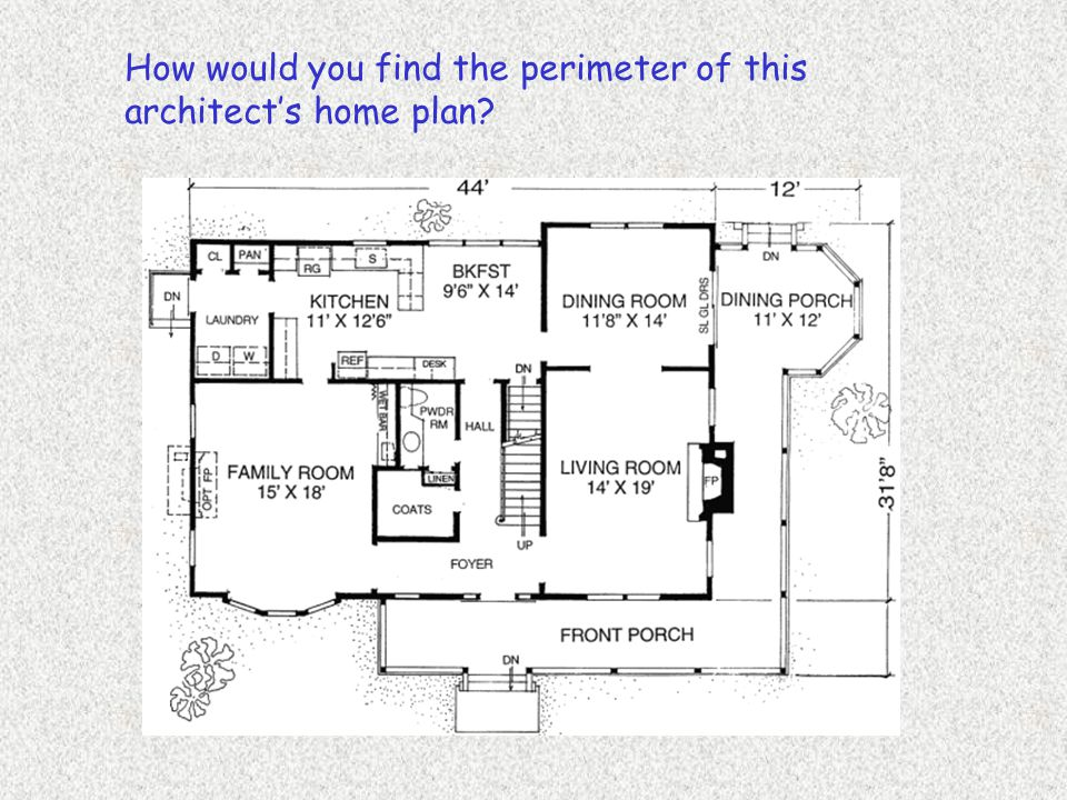 How would you find the perimeter of this architect's home plan?
