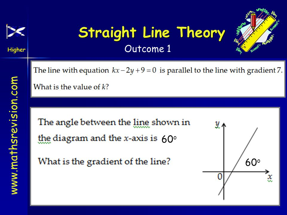www.mathsrevision.com Higher Outcome 1 Straight Line Theory 60 o