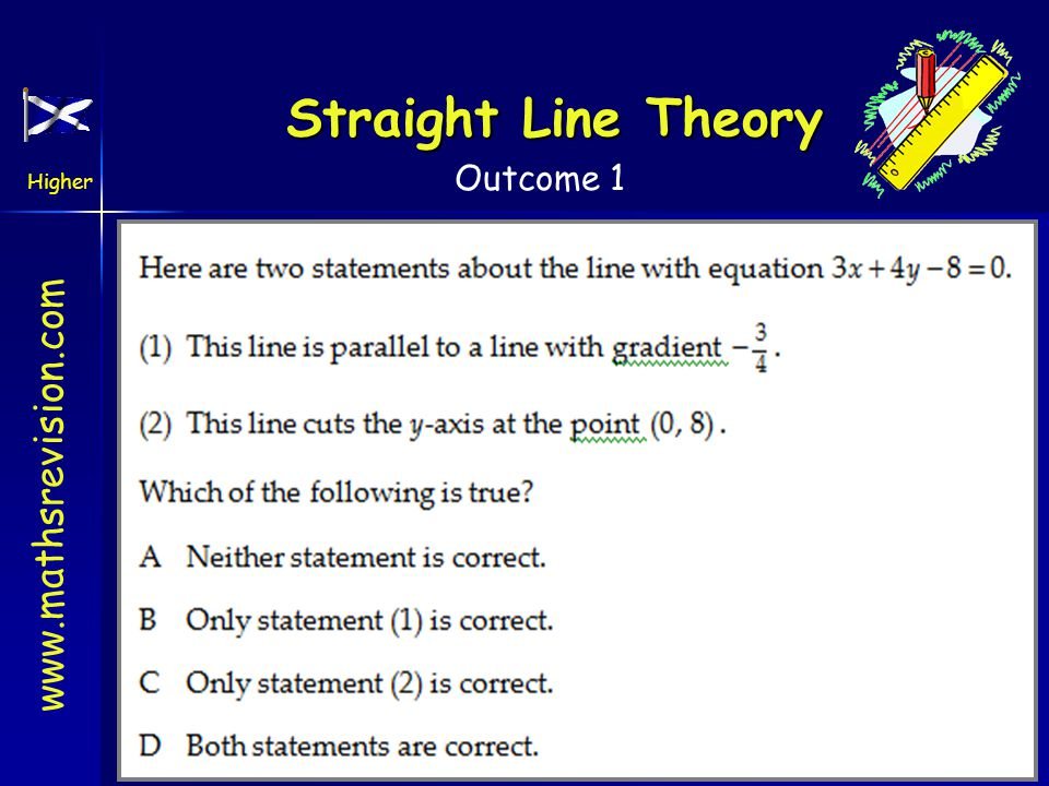 www.mathsrevision.com Higher Outcome 1 Straight Line Theory