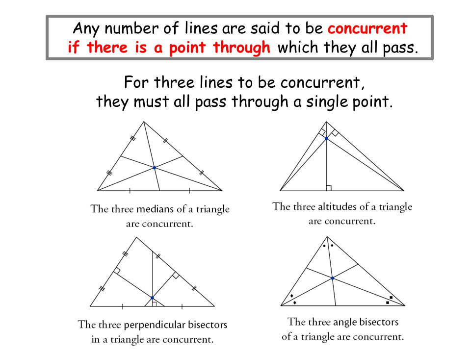 Any number of lines are said to be concurrent if there is a point through which they all pass. For three lines to be concurrent, they must all pass th