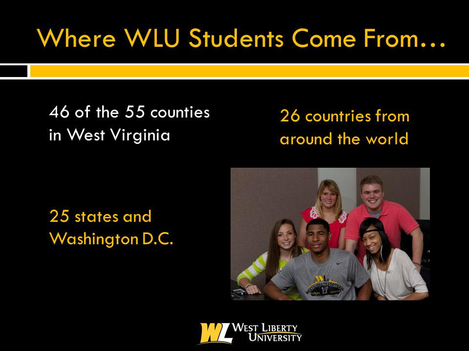 Where WLU Students Come From…  46 of the 55 counties in West Virginia  25 states and Washington D.C.