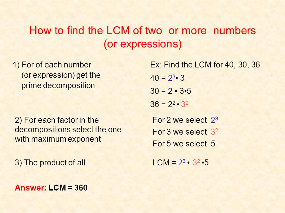 How to find the LCM of two or more numbers (or expressions) Ex: Find the LCM for 40, 30, 36 40 = 23 23 3 30 = 2 35 36 = 2 2 3232 For 2 we select 2323 For 3 we select 3232 For 5 we select 5151 LCM = 2 3 3 2 5 1) For of each number (or expression) get the prime decomposition 2) For each factor in the decompositions select the one with maximum exponent 3) The product of all Answer: LCM = 360