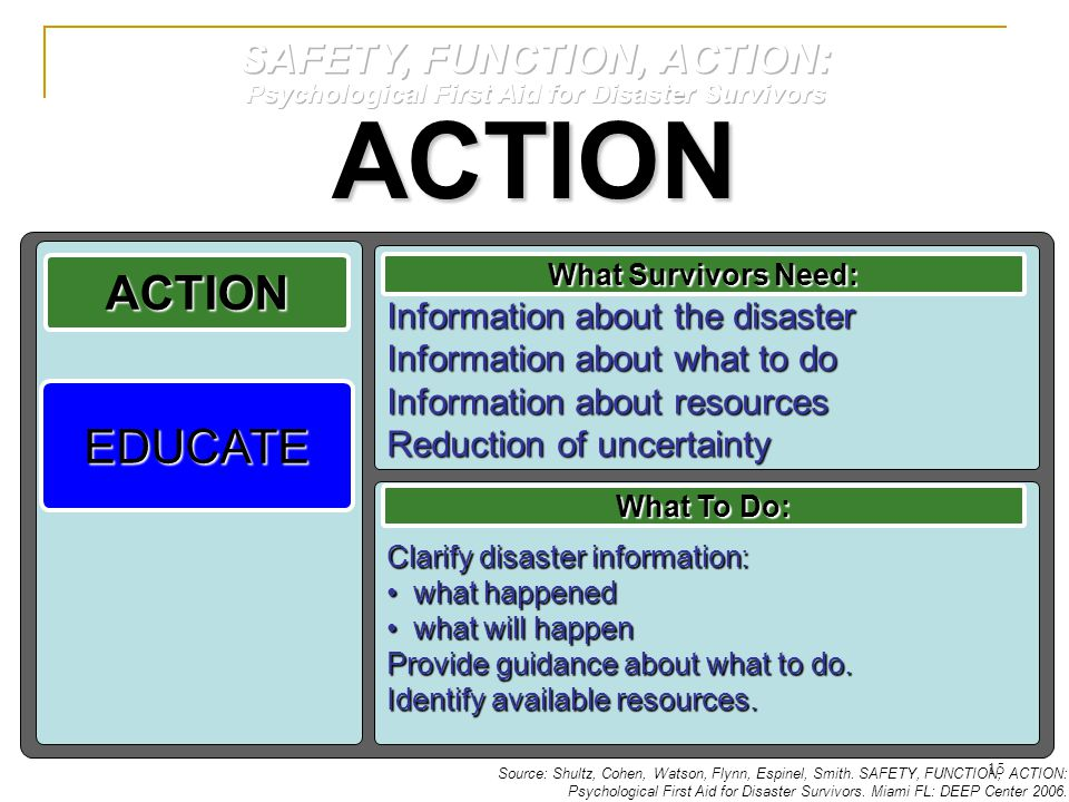 ACTION Clarify disaster information: what happened what happened what will happen what will happen Provide guidance about what to do.