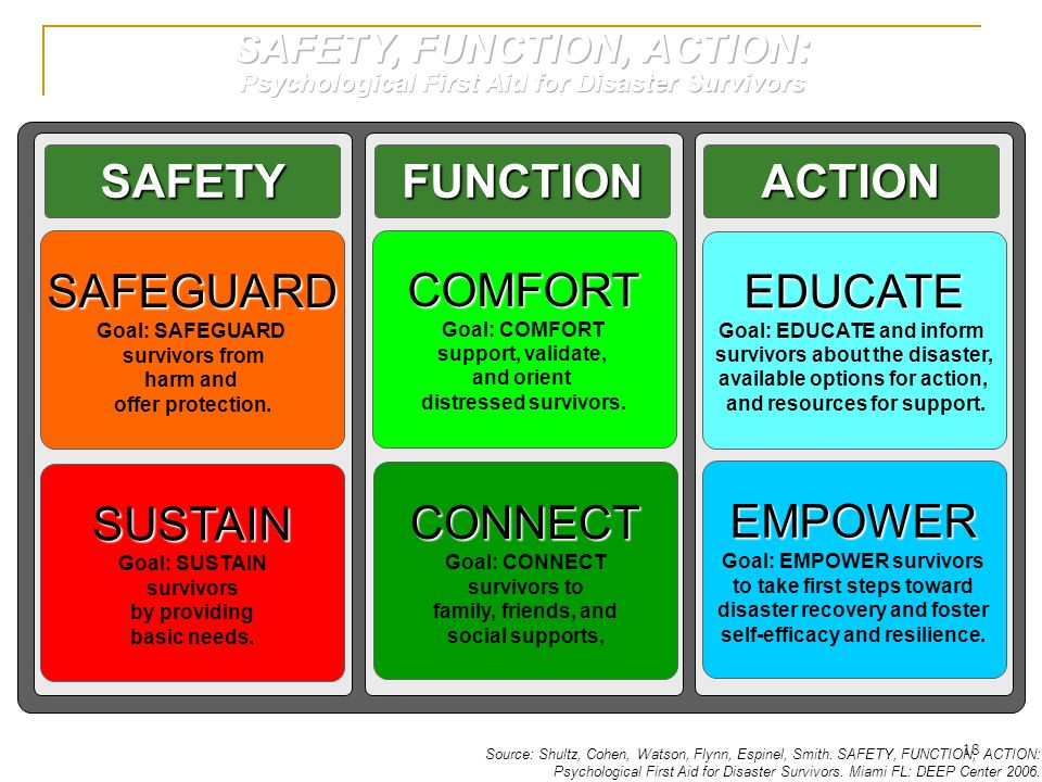 SAFEGUARD Goal: SAFEGUARD survivors from harm and offer protection. SAFETYFUNCTIONACTION SUSTAIN Goal: SUSTAIN survivors by providing basic needs. CON