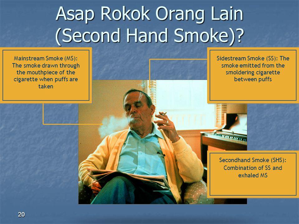 20 Asap Rokok Orang Lain (Second Hand Smoke)? Mainstream Smoke (MS): The smoke drawn through the mouthpiece of the cigarette when puffs are taken Side