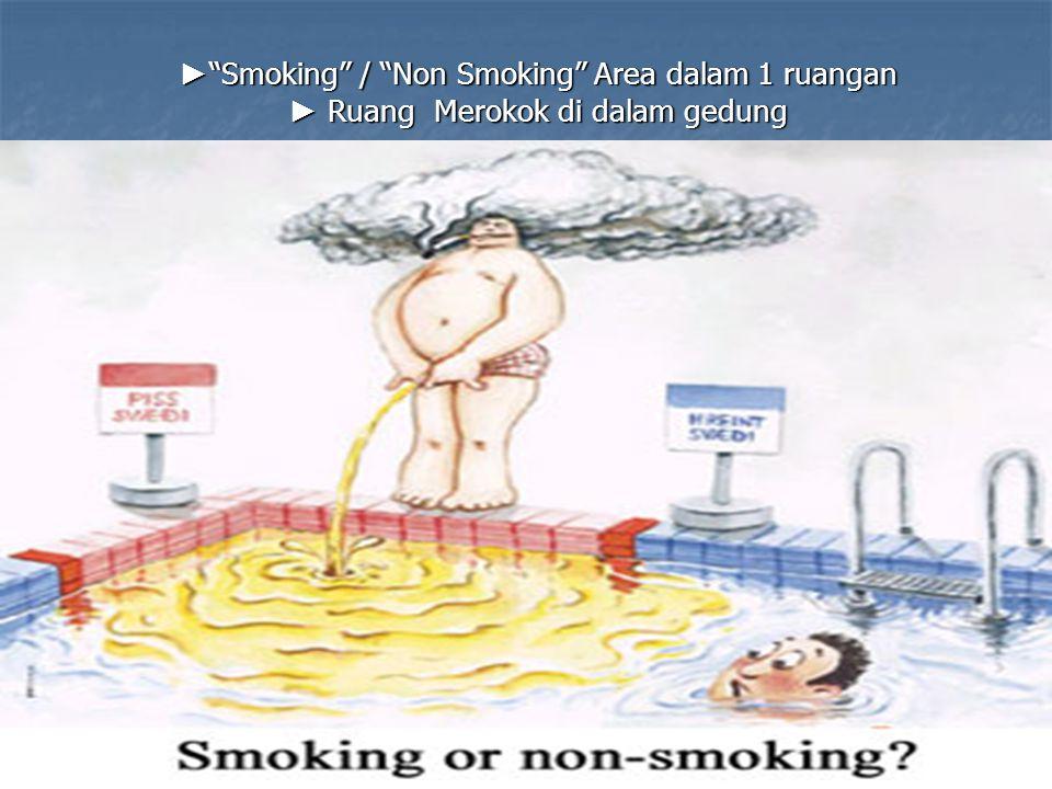 """► """"Smoking"""" / """"Non Smoking"""" Area dalam 1 ruangan ► Ruang Merokok di dalam gedung"""