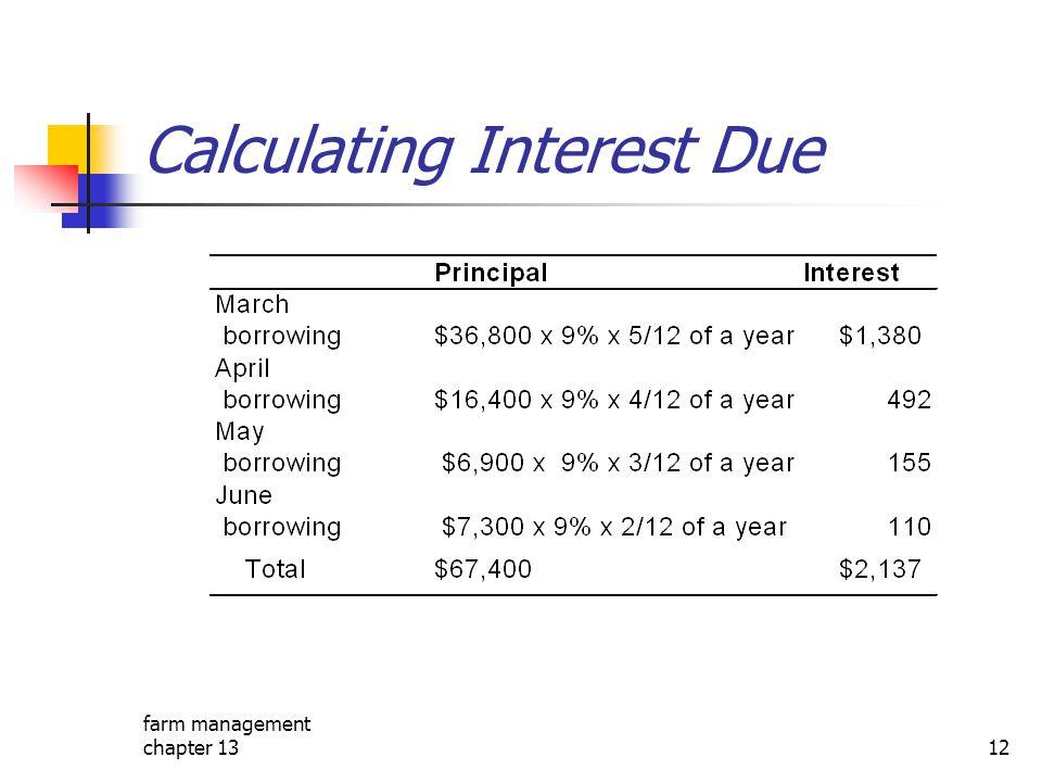 farm management chapter 1312 Calculating Interest Due