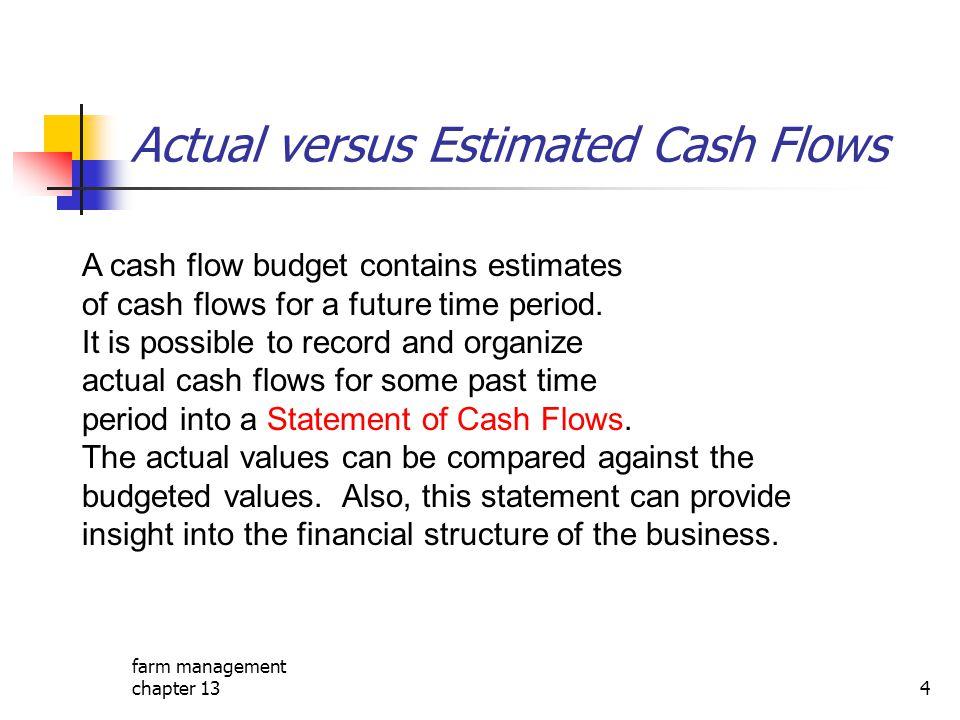 farm management chapter 134 Actual versus Estimated Cash Flows A cash flow budget contains estimates of cash flows for a future time period. It is pos