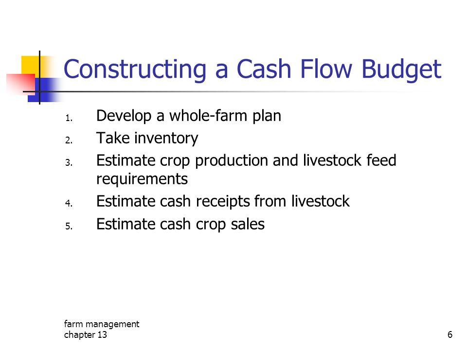 farm management chapter 136 Constructing a Cash Flow Budget 1. Develop a whole-farm plan 2. Take inventory 3. Estimate crop production and livestock f