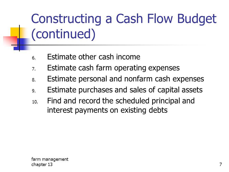 farm management chapter 137 Constructing a Cash Flow Budget (continued) 6. Estimate other cash income 7. Estimate cash farm operating expenses 8. Esti