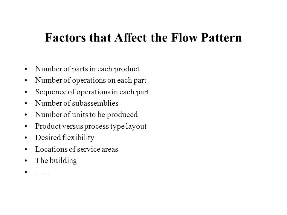 Flow Patterns (cont.) Store Turning Milling Press Plate Assembly Warehouse Stores Turning Milling Warehouse AssemblyPlate Press Stores Press Plate Assembly Turning MillingWarehouse Stores Milling Warehouse Turning Press Plate Assembly Straight-line flow U-shaped flow W-shaped flowS-shaped flow
