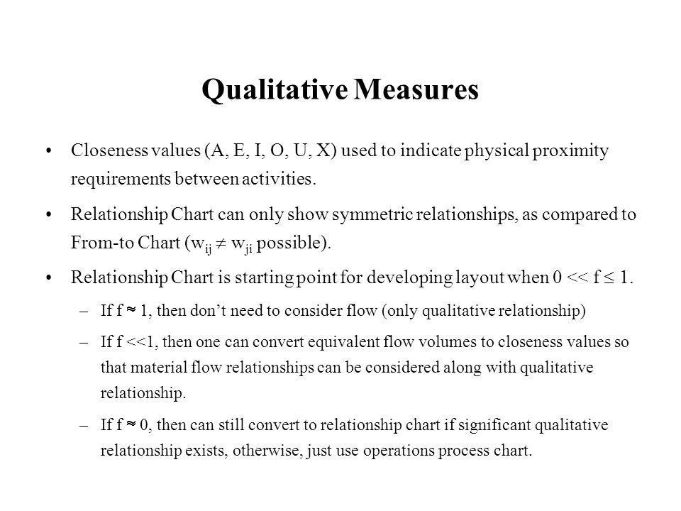 Qualitative Measures Closeness values (A, E, I, O, U, X) used to indicate physical proximity requirements between activities. Relationship Chart can o