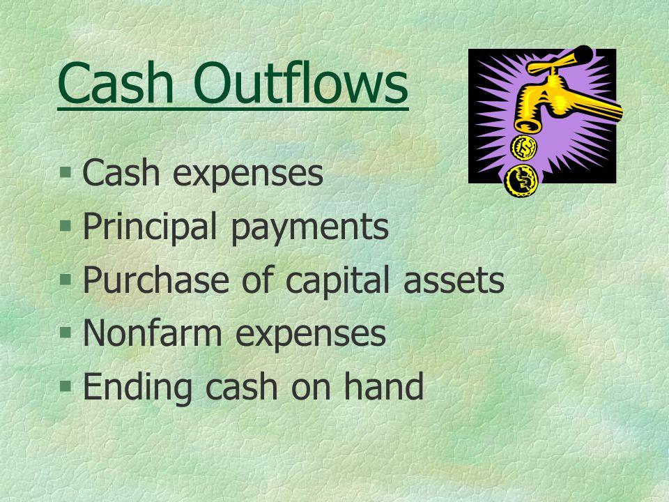 Cash Outflows §Cash expenses §Principal payments §Purchase of capital assets §Nonfarm expenses §Ending cash on hand