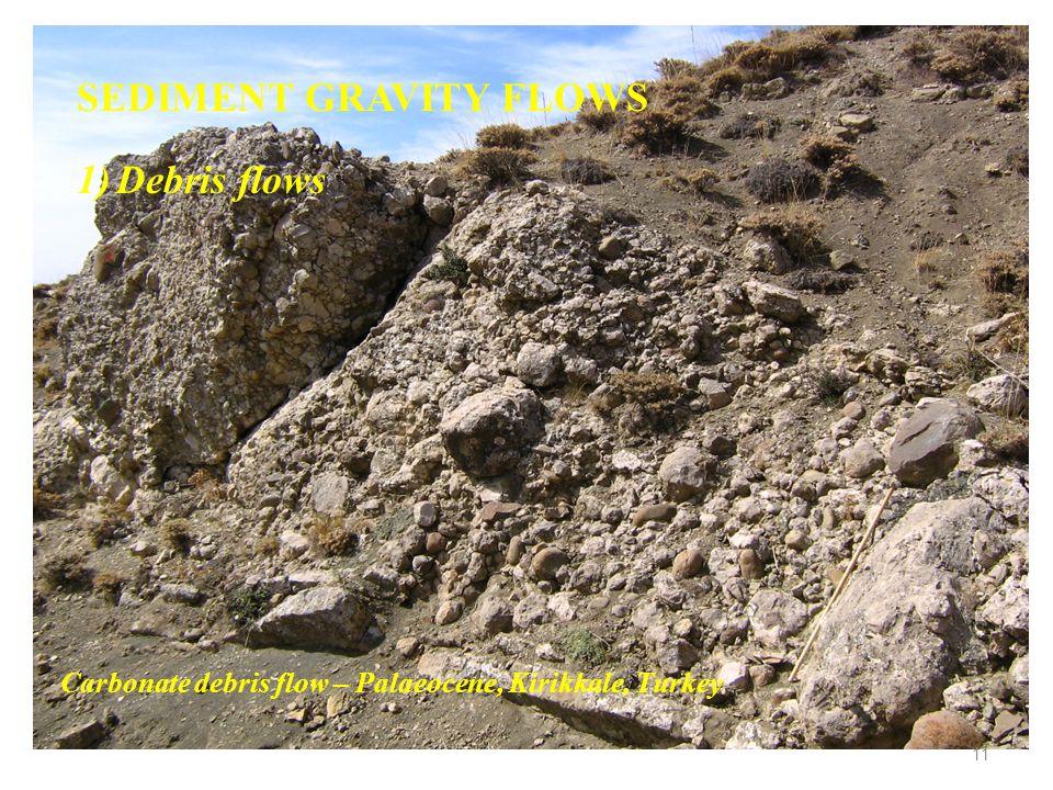 SEDIMENT GRAVITY FLOWS 1)Debris flows Carbonate debris flow – Palaeocene, Kirikkale, Turkey 11