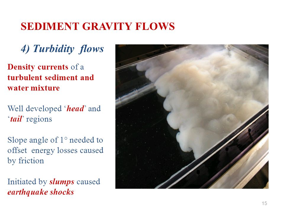 SEDIMENT GRAVITY FLOWS 4) Turbidity flows Density currents of a turbulent sediment and water mixture Well developed 'head' and 'tail' regions Slope angle of 1° needed to offset energy losses caused by friction Initiated by slumps caused earthquake shocks 15