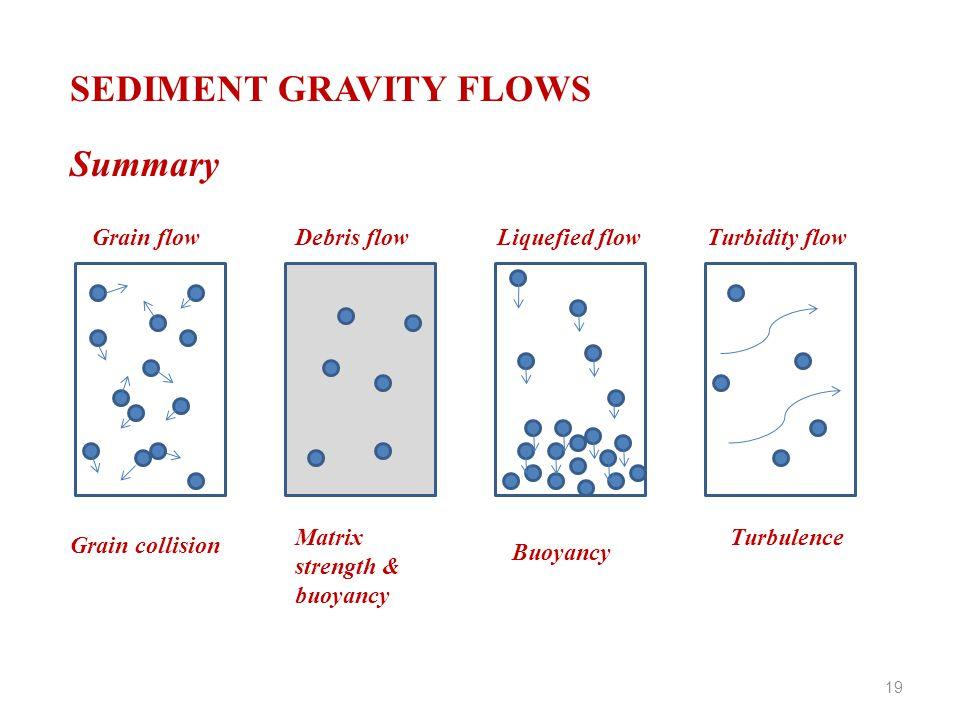 SEDIMENT GRAVITY FLOWS Summary Grain flowDebris flowLiquefied flowTurbidity flow Grain collision Matrix strength & buoyancy Buoyancy Turbulence 19