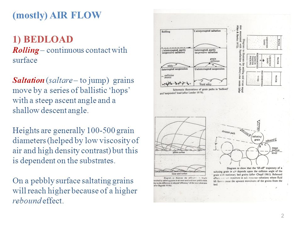 (mostly) AIR FLOW 1) BEDLOAD Rolling – continuous contact with surface Saltation (saltare – to jump) grains move by a series of ballistic 'hops' with a steep ascent angle and a shallow descent angle.