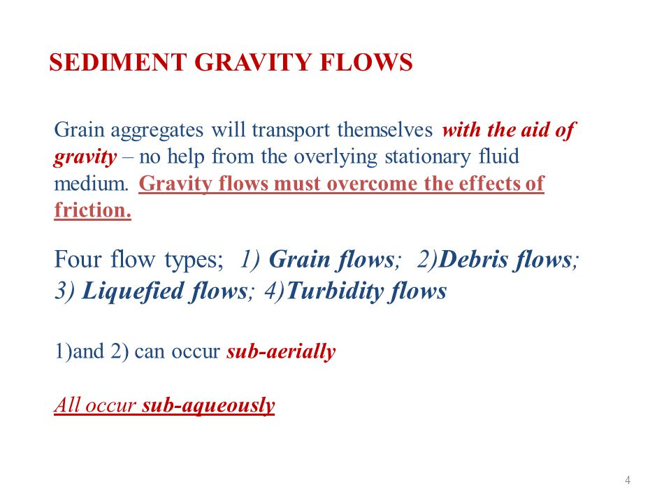 Grain aggregates will transport themselves with the aid of gravity – no help from the overlying stationary fluid medium.