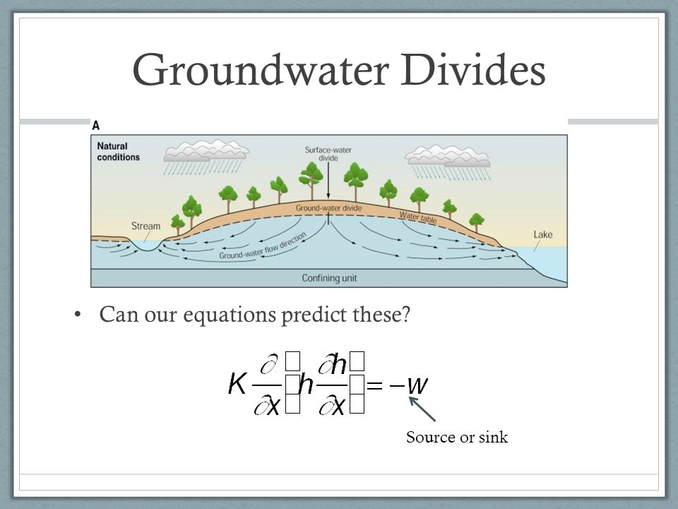 Groundwater Divides Can our equations predict these? Source or sink