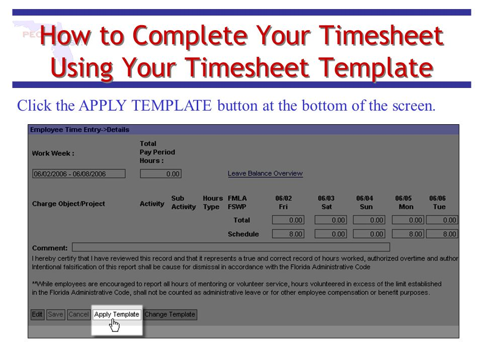 How to Complete Your Timesheet Using Your Timesheet Template Click the APPLY TEMPLATE button at the bottom of the screen.