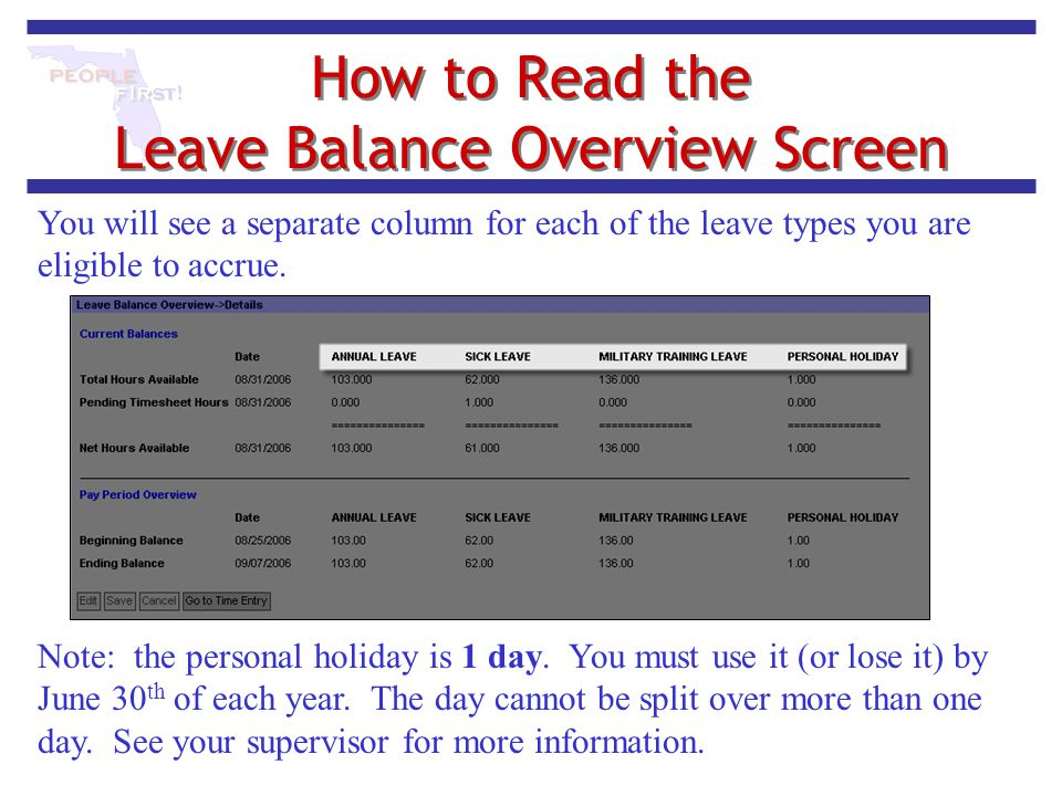 How to Read the Leave Balance Overview Screen You will see a separate column for each of the leave types you are eligible to accrue. Note: the persona