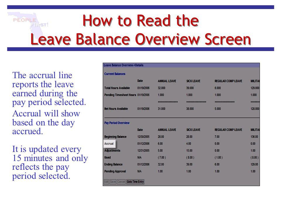 How to Read the Leave Balance Overview Screen The accrual line reports the leave earned during the pay period selected. Accrual will show based on the