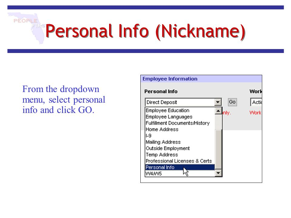 Personal Info (Nickname) From the dropdown menu, select personal info and click GO.