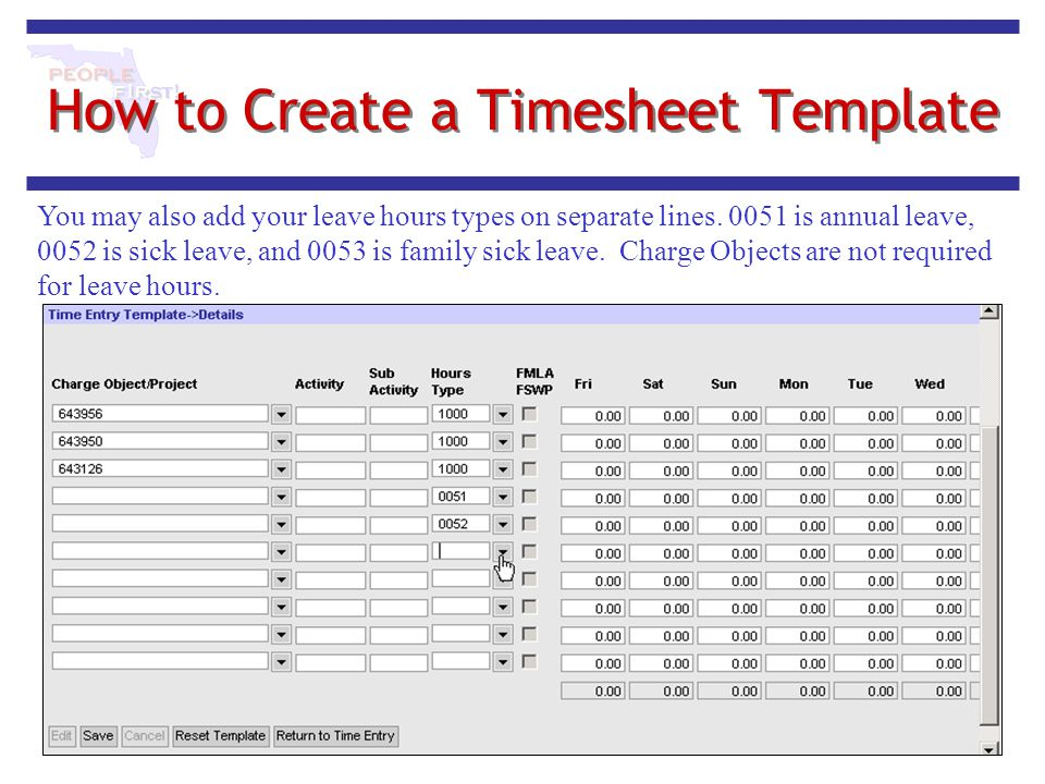 How to Create a Timesheet Template You may also add your leave hours types on separate lines. 0051 is annual leave, 0052 is sick leave, and 0053 is fa
