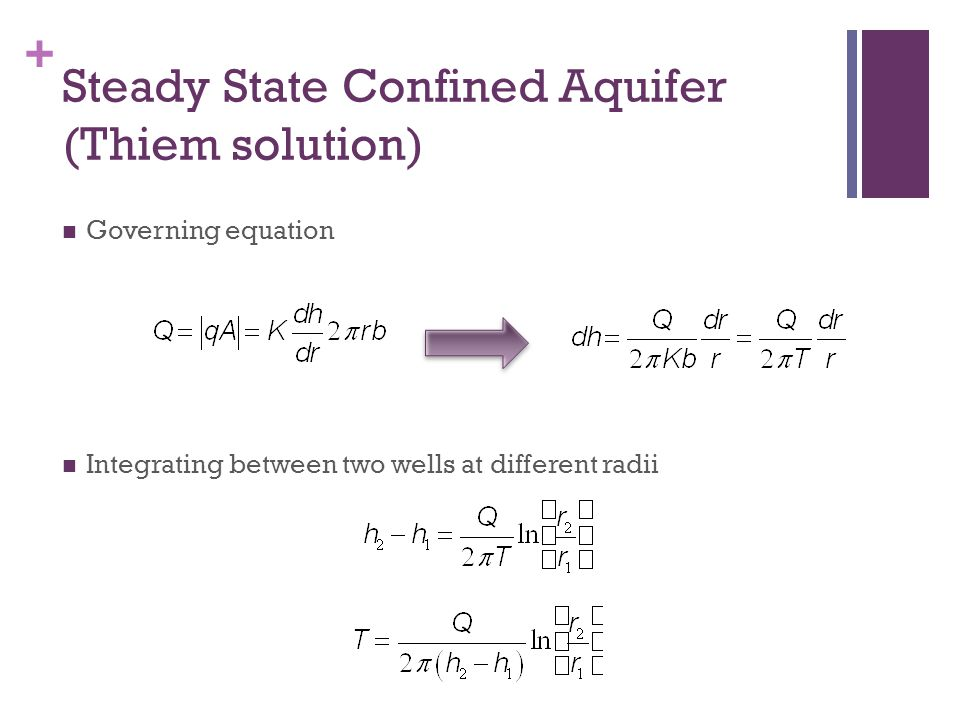 + Example Problem t(s)HH0 (cm)H/H0 0.51000.9 11000.82 21000.67 41000.37 51000.25 71000.2 81000.165 91000.135 R=0.1m (radius of screen) r=0.1m (radius of casing L=5m (length of well screen)