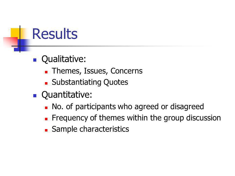 Results Qualitative: Themes, Issues, Concerns Substantiating Quotes Quantitative: No.