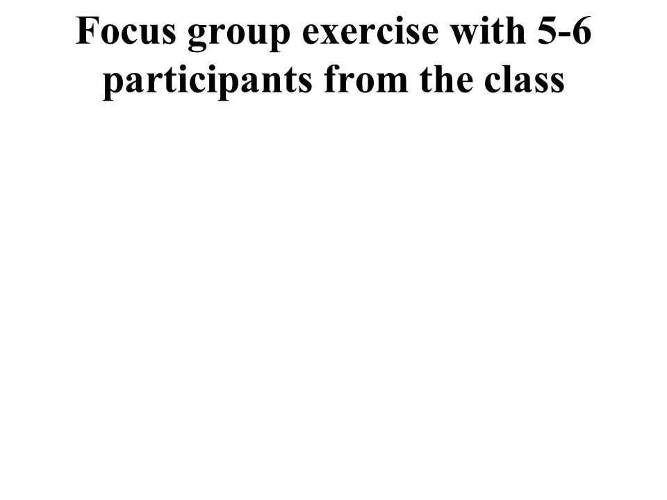 Focus group exercise with 5-6 participants from the class