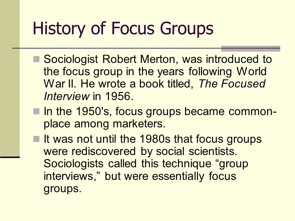 Basic Tips for a Successful Focus Group Introduction and introductory activities- It is important that facilitators explain the purpose and how a focus group operates.