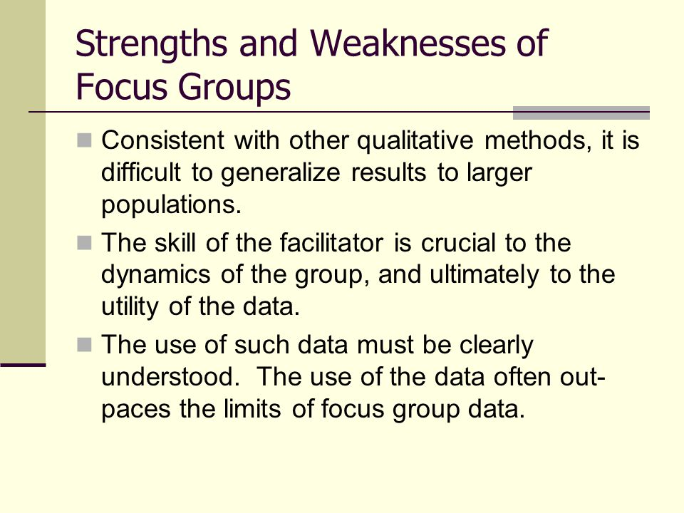 Types and structure of Focus Groups In recent times, the use of focus groups has expanded from its original conception.