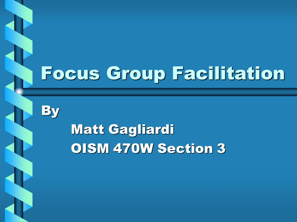 Focus Group Facilitation By Matt Gagliardi OISM 470W Section 3