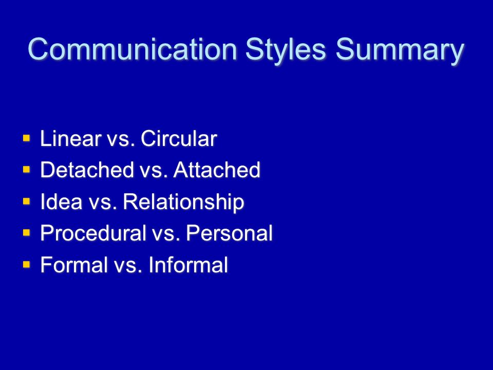 Communication Styles Summary  Linear vs. Circular  Detached vs.