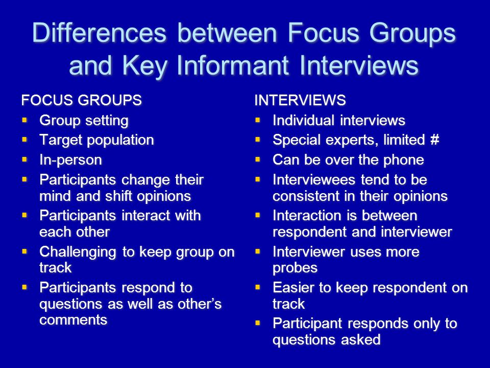 Differences between Focus Groups and Key Informant Interviews FOCUS GROUPS  Group setting  Target population  In-person  Participants change their mind and shift opinions  Participants interact with each other  Challenging to keep group on track  Participants respond to questions as well as other's comments FOCUS GROUPS  Group setting  Target population  In-person  Participants change their mind and shift opinions  Participants interact with each other  Challenging to keep group on track  Participants respond to questions as well as other's comments INTERVIEWS  Individual interviews  Special experts, limited #  Can be over the phone  Interviewees tend to be consistent in their opinions  Interaction is between respondent and interviewer  Interviewer uses more probes  Easier to keep respondent on track  Participant responds only to questions asked INTERVIEWS  Individual interviews  Special experts, limited #  Can be over the phone  Interviewees tend to be consistent in their opinions  Interaction is between respondent and interviewer  Interviewer uses more probes  Easier to keep respondent on track  Participant responds only to questions asked