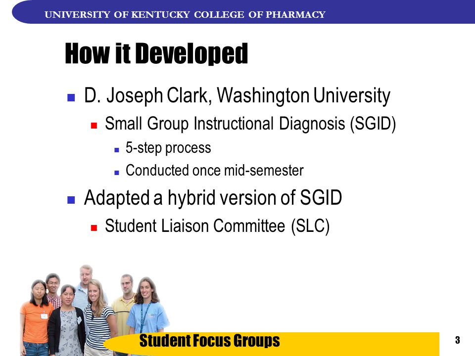 Student Focus Groups UNIVERSITY OF KENTUCKY COLLEGE OF PHARMACY 3 How it Developed D.