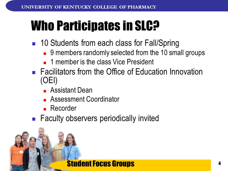 Student Focus Groups UNIVERSITY OF KENTUCKY COLLEGE OF PHARMACY 4 Who Participates in SLC.