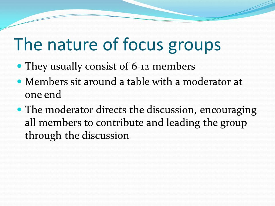 How many focus groups should be conducted.