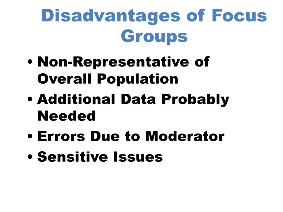 Responsibilities of the Moderator Success of focus group.